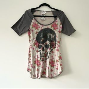 A Fine Mess Graphic Floral Skull Baseball T Shirt